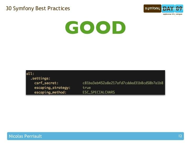 30 Symfony Best Practices                          GOOD      Nicolas Perriault           12