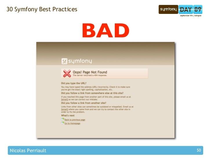 30 Symfony Best Practices                                BAD      Nicolas Perriault                50
