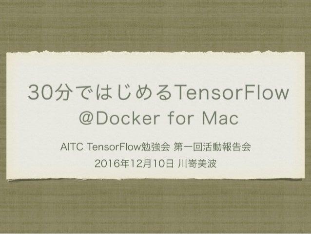 TensorFlow勉強会第1回活動報告会「30分ではじめるTensorFlow @Docker for Mac」