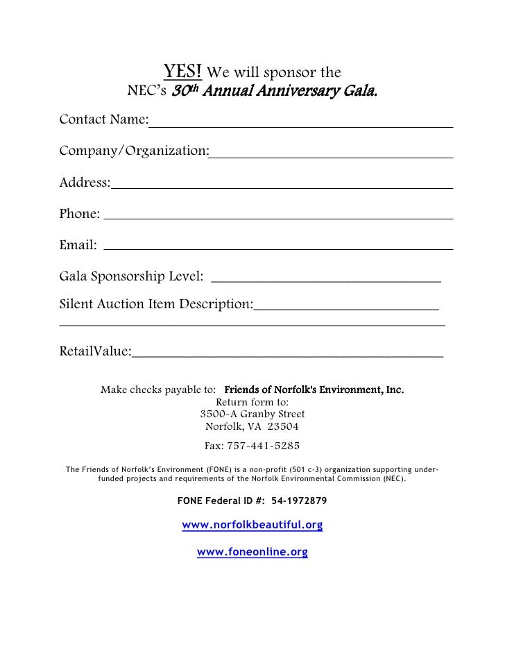 30Th Annual Gala Sponsorship Form