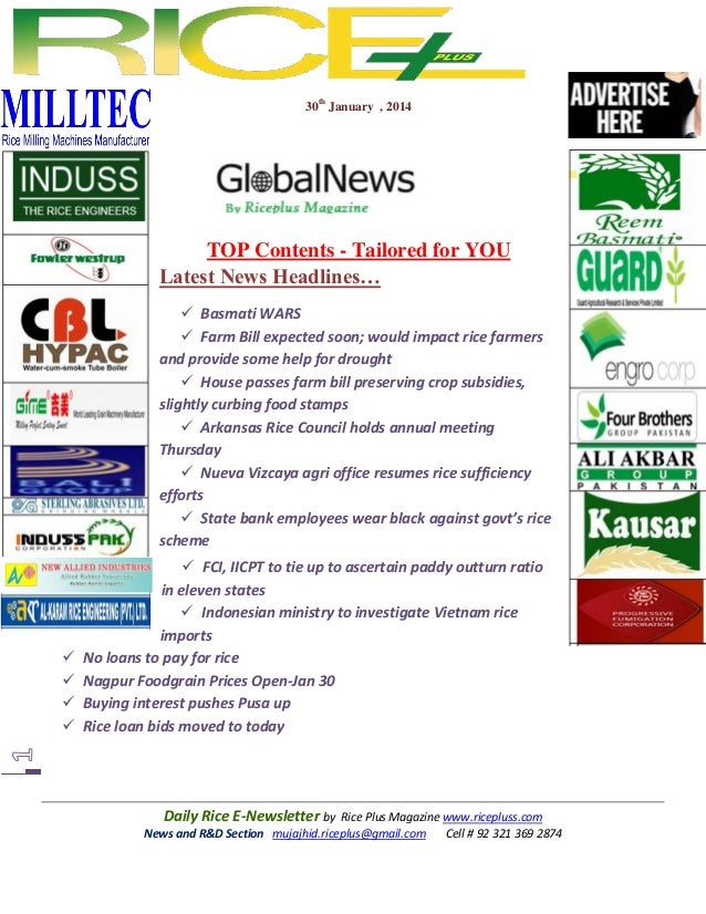 30th January , 2014  TOP Contents - Tailored for YOU Latest News Headlines…  Basmati WARS  Farm Bill expected soon; woul...