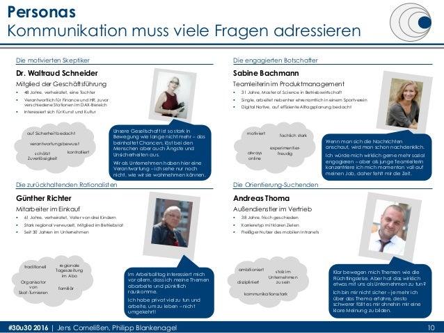 Personas Kommunikation muss viele Fragen adressieren 10#30u30 2016 | Jens Cornelißen, Philipp Blankenagel Dr. Waltraud Sch...
