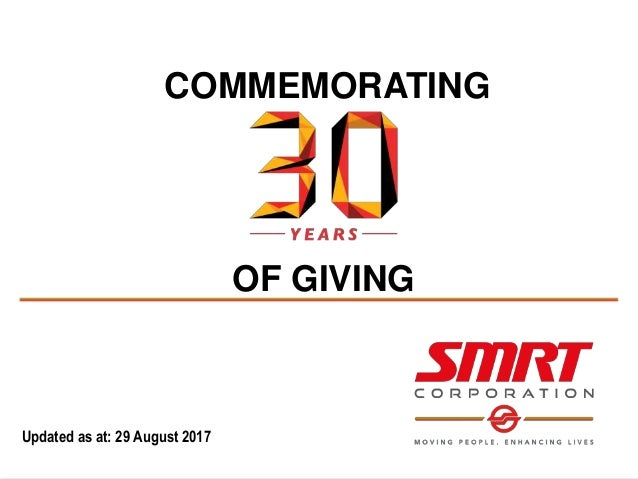 COMMEMORATING OF GIVING Updated as at: 29 August 2017