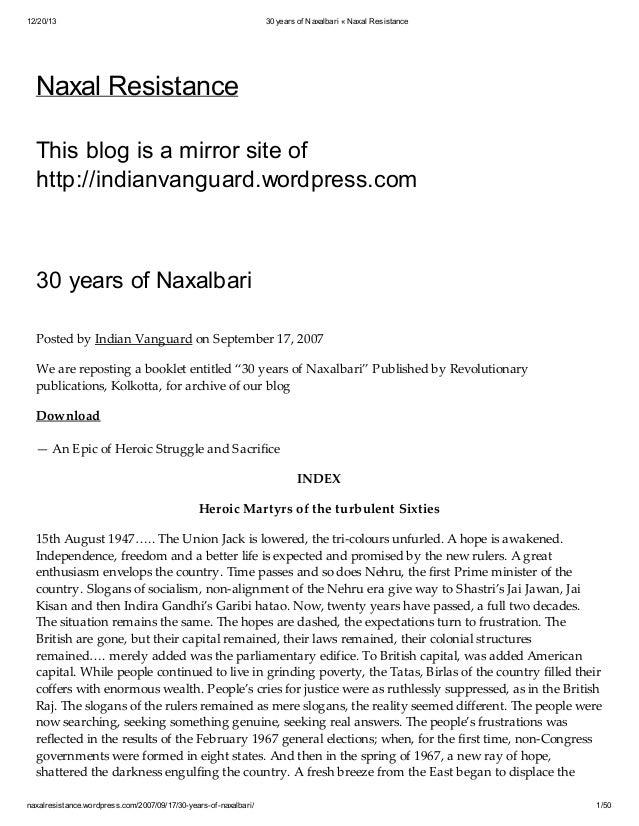 12/20/13  30 years of Naxalbari « Naxal Resistance  Naxal Resistance This blog is a mirror site of http://indianvanguard.w...