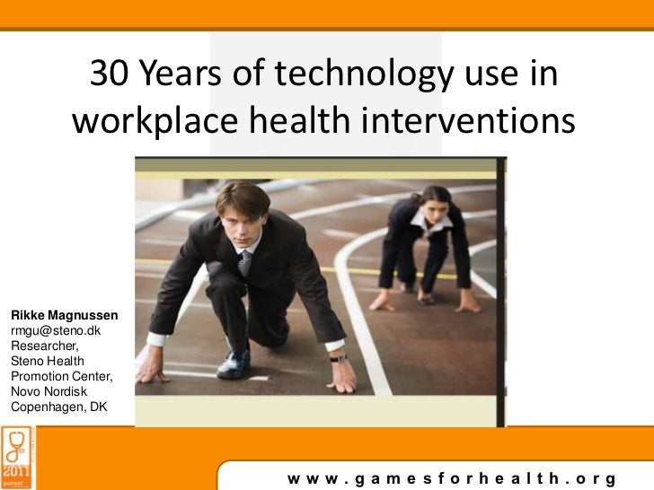 Testing…<br />Subtitle…<br />30 Years of technology use in workplace health interventions<br />Rikke Magnussen<br />rmgu@s...