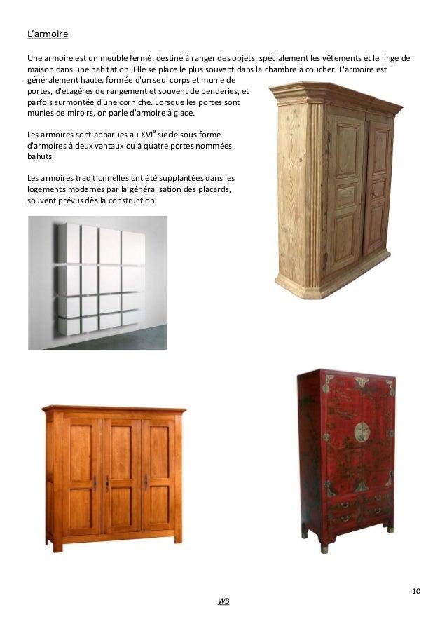 les differents types de meubles. Black Bedroom Furniture Sets. Home Design Ideas