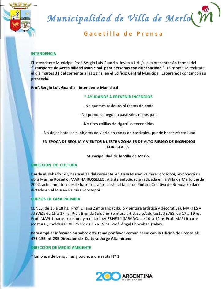 Municipalidad de Villa de Merlo                               Gacetilla de Prensa  INTENDENCIA  El Intendente Municipal Pr...