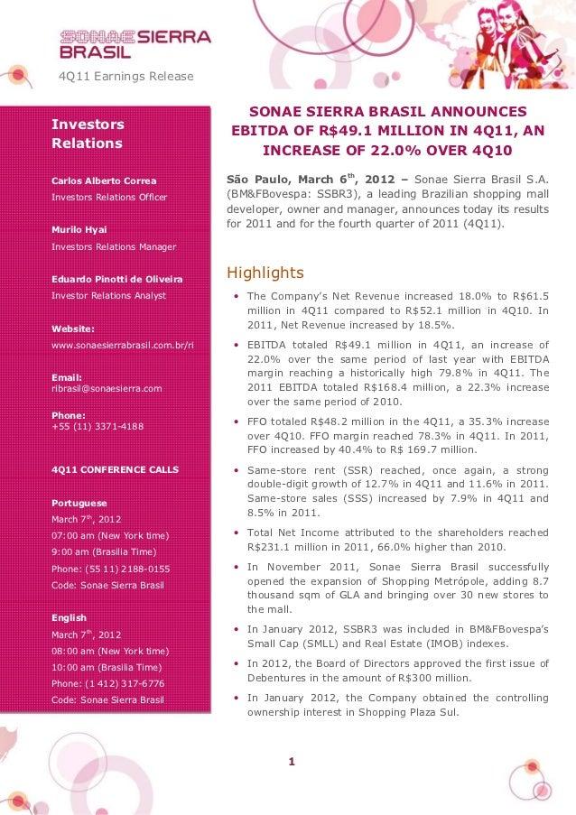 4Q11 Earnings Release                                    SONAE SIERRA BRASIL ANNOUNCESInvestors                         EB...