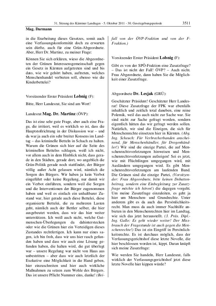 31. Sitzung des Kärntner Landtages - 5. Oktober 2011 - 30. Gesetzgebungsperiode       3511Mag. Darmannin die Erarbeitung d...