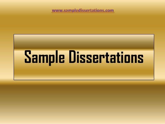 Sample Dissertations