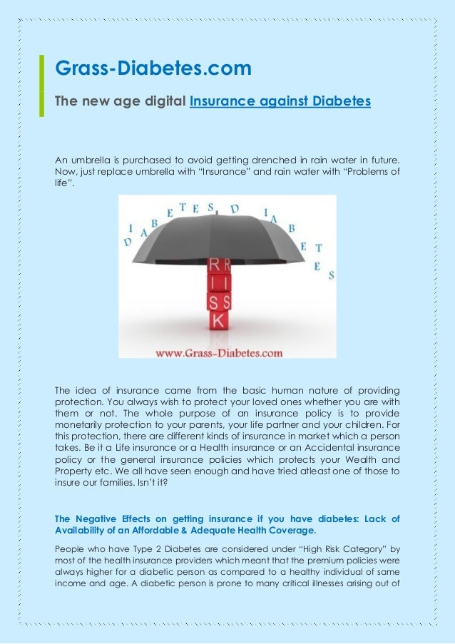 Grass-Diabetes.com  The new age digital Insurance against Diabetes  An umbrella is purchased to avoid getting drenched in ...