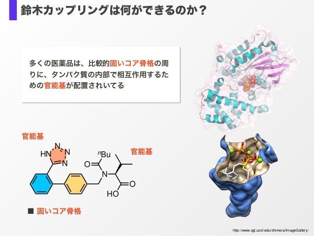 N O HO O nBu N N N HN 官能基 ■ 固いコア骨格 http://www.cgl.ucsf.edu/chimera/ImageGallery/ 官能基 多くの医薬品は、比較的固いコア骨格の周 りに、タンパク質の内部で相互作用す...