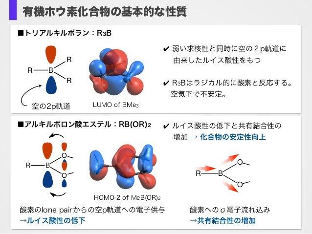 有機ホウ素化合物の基本的な性質 LUMO of BMe3 R B R R ✔ 弱い求核性と同時に空の2p軌道に  由来したルイス酸性をもつ ✔ R3Bはラジカル的に酸素と反応する。 空気下で不安定。 空の2p軌道 ■トリアルキルボラン:R3B...