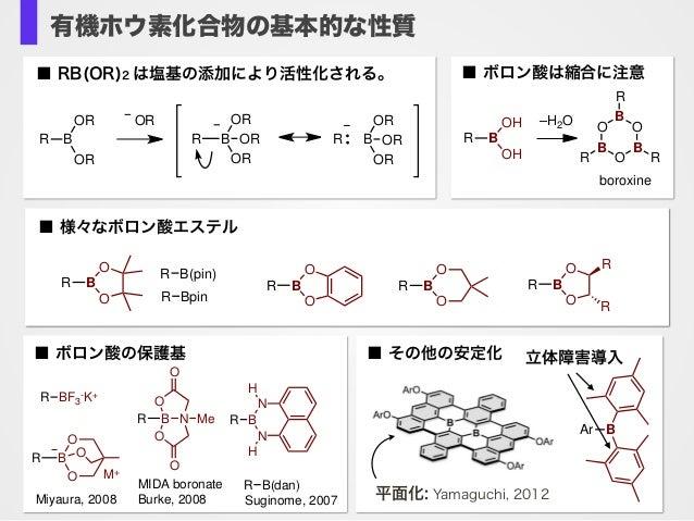 有機ホウ素化合物の基本的な性質 ■ RB(OR)2 は塩基の添加により活性化される。 B OR OR R OR ORB OR OR R B OR OR R OR ■ 様々なボロン酸エステル O O BR O O BR O O BR O O BR...