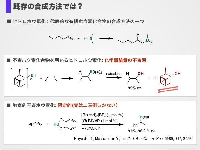 既存の合成方法では? ■ 触媒的不斉ホウ素化: 限定的(実は二三例しかない) Ph [Rh(cod)2]BF4 (1 mol %) (R)-BINAP (1 mol %) –78°C, 6 h O HB O + Ph B(cat) 91%, 9...