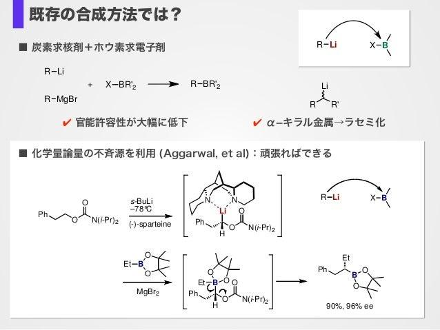 既存の合成方法では? ■ 炭素求核剤+ホウ素求電子剤 R Li R MgBr + R BR'2X BR'2 R R' Li ✔ 官能許容性が大幅に低下 ✔ αキラル金属→ラセミ化 N Ph O N(i-Pr)2 O (-)-sparteine...