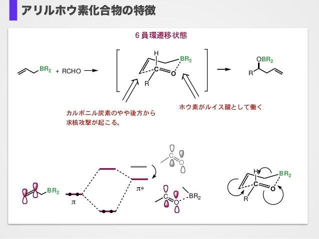 """アリルホウ素化合物の特徴6 R OBR2 + RCHOBR2 C O BR2 R H ホウ素がルイス酸として働く 6員環遷移状態 カルボニル炭素のやや後方から 求核攻撃が起こる。 BR2 ! C O BR2 C O !"""" C O BR2 R H"""