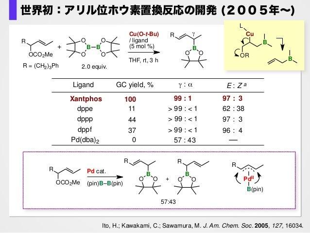 ・Xantphosがベストの配位子 ・高いγ-選択性 ・E体が生成 Ito, H.; Kawakami, C.; Sawamura, M. J. Am. Chem. Soc. 2005, 127, 16034. Cu(O-t-Bu) / lig...
