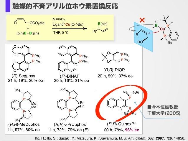 Ito, H.; Ito, S.; Sasaki, Y.; Matsuura, K.; Sawamura, M. J. Am. Chem. Soc. 2007, 129, 14856. THF, 0 ˚C R B(pin) (pin)B B(p...