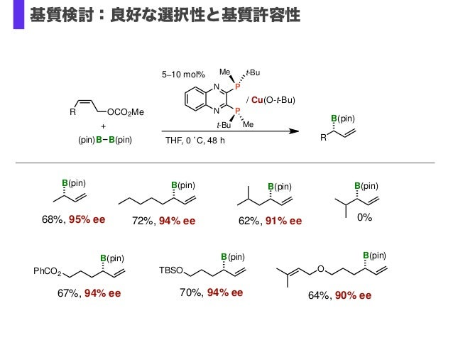 THF, 0 ˚C, 48 h R B(pin) (pin)B B(pin) + R OCO2Me B(pin) B(pin) B(pin) B(pin) B(pin) TBSO 68%, 95% ee 72%, 94% ee 0%62%, 9...