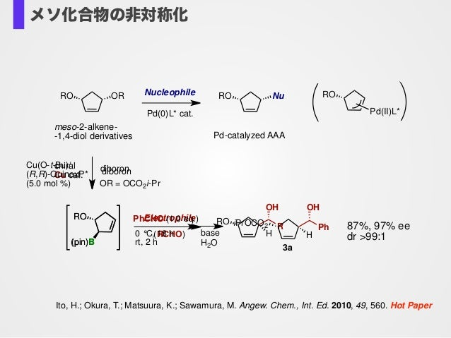 Ito, H.; Okura, T.; Matsuura, K.; Sawamura, M. Angew. Chem., Int. Ed. 2010, 49, 560. Hot Paper chiral Cu cat. RO H OH R El...