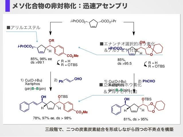 ■アリルエステル ■エナンチオ選択的ホウ素化 &アルデヒド付加 ■立体選択的ホウ素化 &アルデヒド付加 三段階で、二つの炭素炭素結合を形成しながら四つの不斉点を構築 OCO2i-Pri-PrOCO2 i-PrOCO2 H OR CO2Me ...