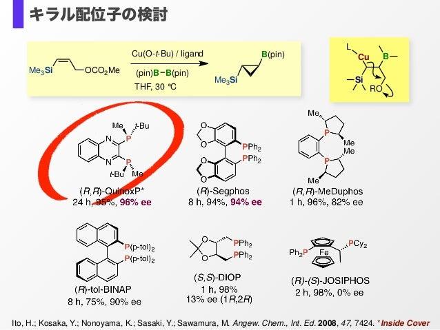 Ito, H.; Kosaka, Y.; Nonoyama, K.; Sasaki, Y.; Sawamura, M. Angew. Chem., Int. Ed. 2008, 47, 7424. *Inside Cover (pin)B B(...