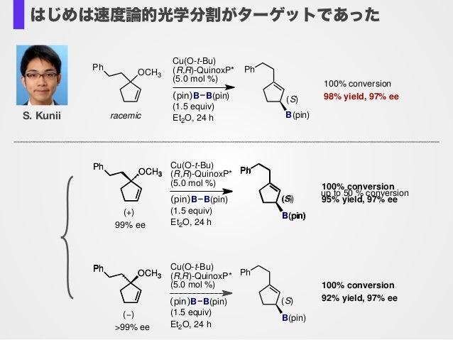 Cu(O-t-Bu) (R,R)-QuinoxP* (5.0 mol %) (pin)B B(pin) (1.5 equiv) Et2O, 24 h OCH3 Ph racemic 100% conversion 98% yield, 97% ...