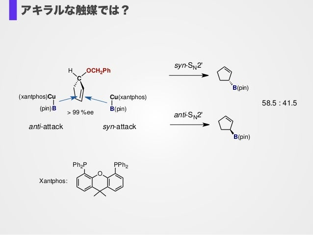 C H OCH2Ph (xantphos)Cu (pin)B anti-attack Cu(xantphos) B(pin) syn-attack > 99 %ee O Ph2P PPh2 Xantphos: syn-SN2' B(pin) B...