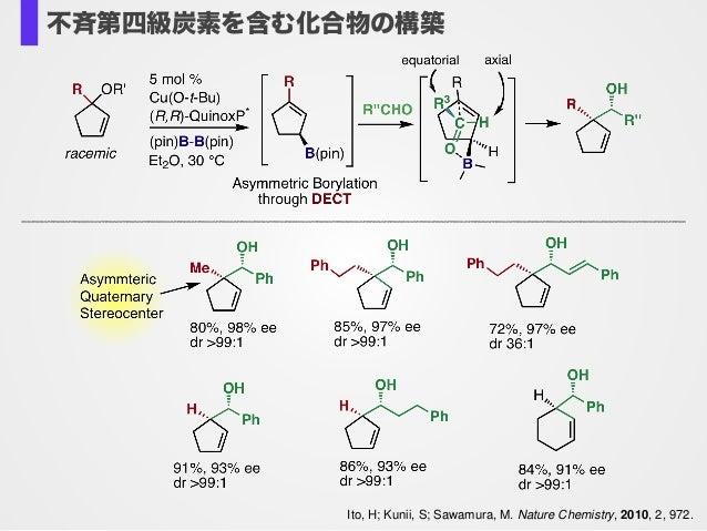 Ito, H; Kunii, S; Sawamura, M. Nature Chemistry, 2010, 2, 972. 不斉第四級炭素を含む化合物の構築