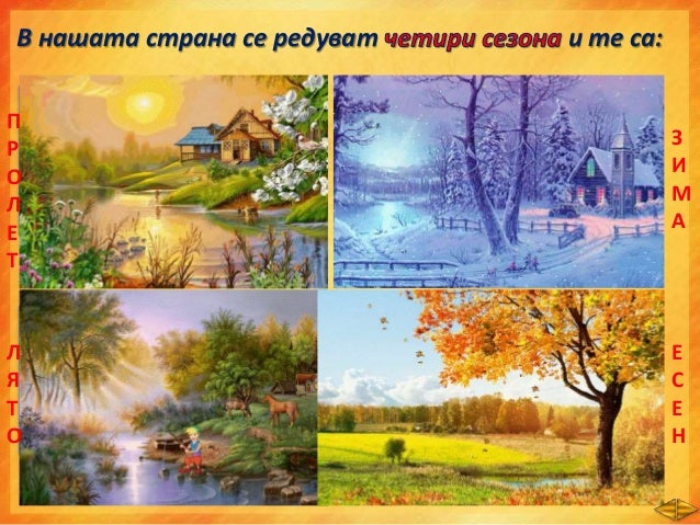 Кой сезон е нарисувал художникът? Кои други емблеми съответстват на всеки от сезоните? Свържи като кликнеш на номера. 1 43...