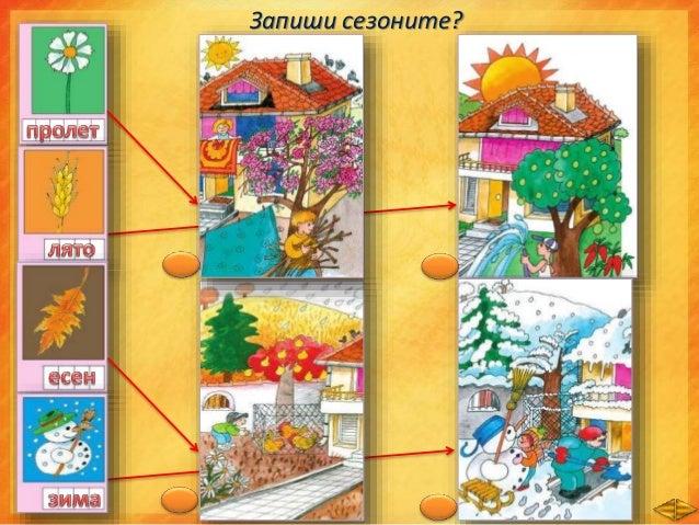 През различните сезони и при животните настъпват промени. Разгледайте илюстрациите. Посочете промените, които настъпват в ...