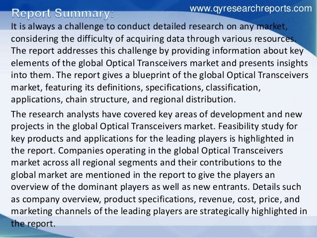 Research Report Covers Optical Transceivers Global Industry Growth, Applications, Analysis And Development Slide 2