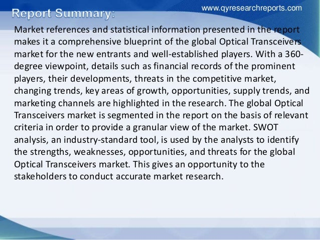 Research Report Covers Optical Transceivers Global Industry Growth, Applications, Analysis And Development Slide 3