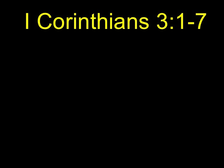 I Corinthians 3:1-7
