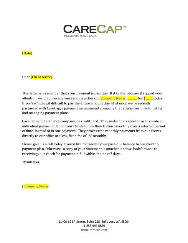 past due letter carecap 31 89 day past due payment letter generic 24446