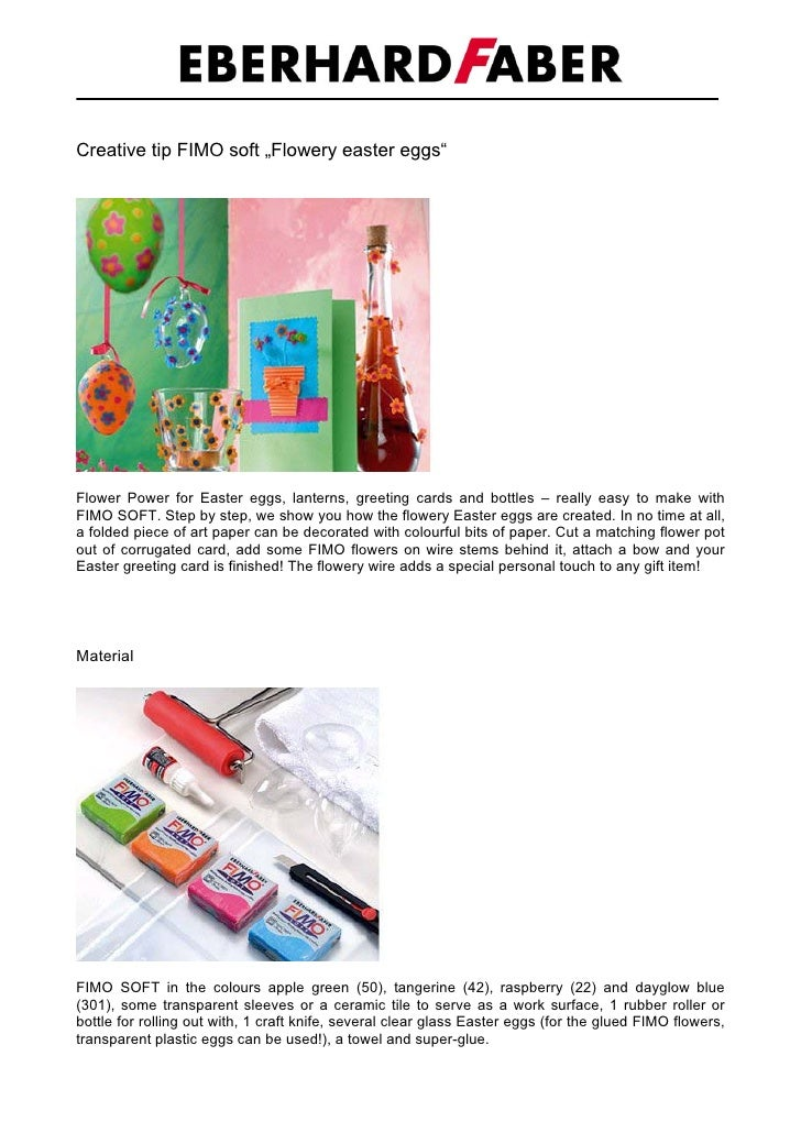 """Creative tip FIMO soft """"Flowery easter eggs""""     Flower Power for Easter eggs, lanterns, greeting cards and bottles – real..."""