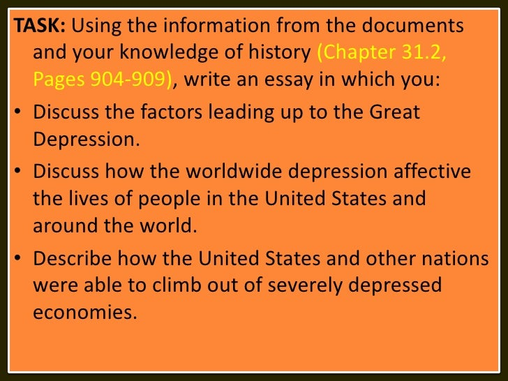essay questions for the great depression The great depression of the 1930's was a worldwide phenomenon composed an infinite number of separate but related events the great depression was a time of poverty and despair caused by many different events.