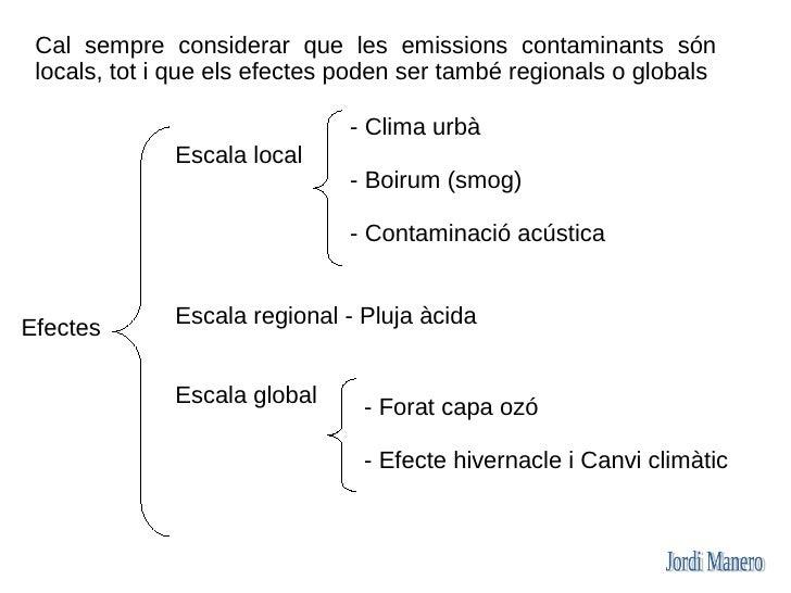 Cal sempre considerar que les emissions contaminants són  locals, tot i que els efectes poden ser també regionals o global...
