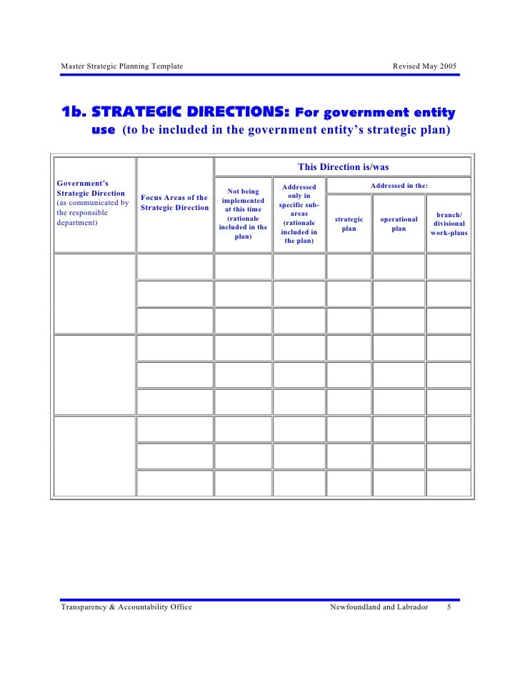 Excellence In Strategic Planning Master Temp Strategic Plan - Department business plan template