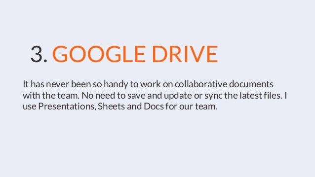 3. GOOGLE DRIVE It has never been so handy to work on collaborative documents with the team. No need to save and update or...