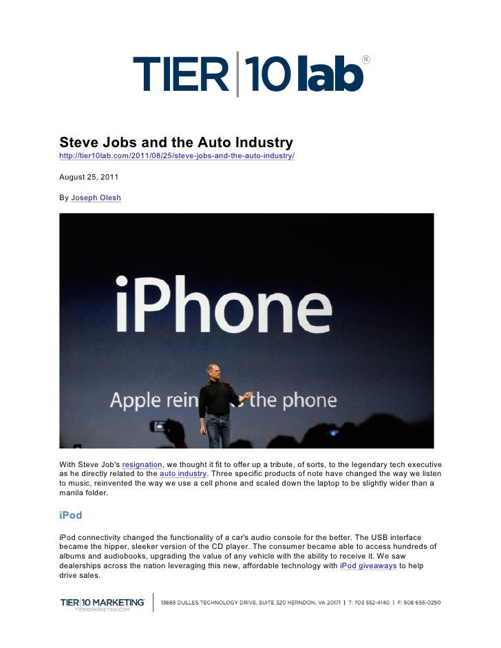 Steve Jobs and the Auto Industryhttp://tier10lab.com/2011/08/2...