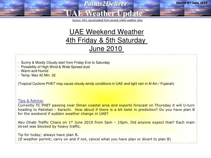 Issued 2nd June 2010                                             Points2Deliver                                UAE Weather...
