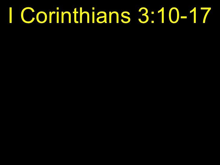 I Corinthians 3:10-17