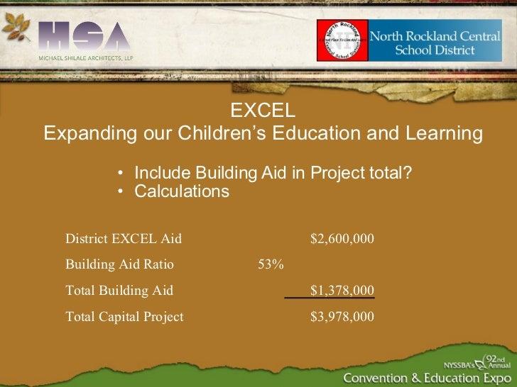 <ul><ul><li>Include Building Aid in Project total? </li></ul></ul><ul><ul><li>Calculations </li></ul></ul>EXCEL Expanding ...