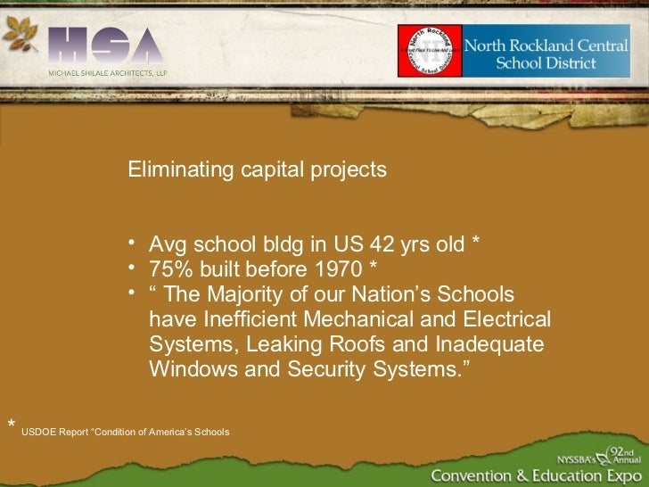 <ul><ul><li>Eliminating capital projects </li></ul></ul><ul><ul><li>Avg school bldg in US 42 yrs old * </li></ul></ul><ul>...