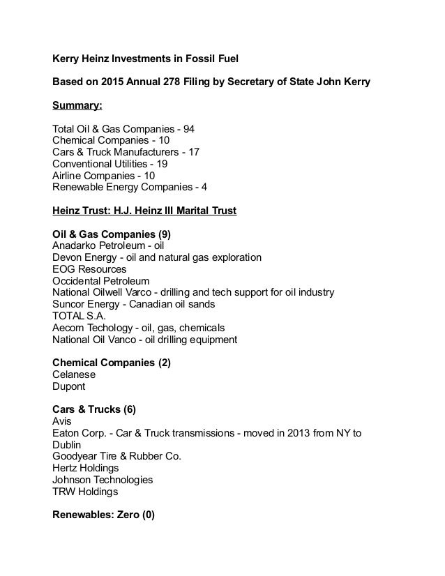 list of fossil fuel companies teresa heinz-kerry invests in