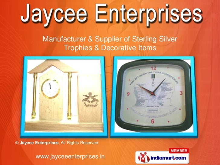 Manufacturer & Supplier of Sterling Silver                  Trophies & Decorative Items© Jaycee Enterprises, All Rights Re...
