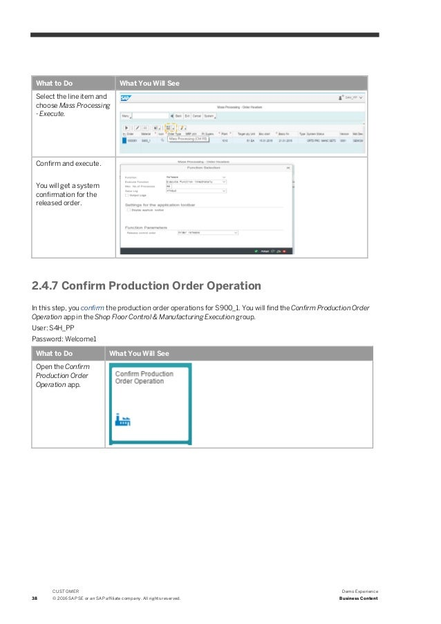 Demo of SAP S/4HANA, on-premise edition