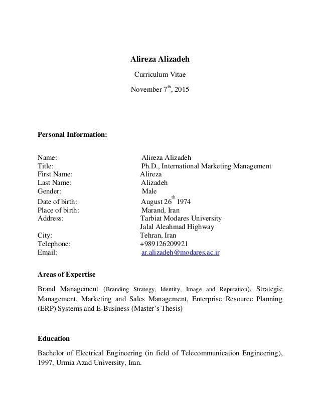 Alireza Alizadeh CV